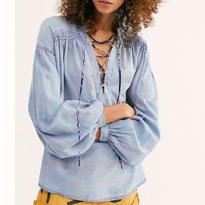 NEW We The Free People Baby Blues Pullover Lace up